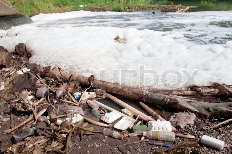 Water pollution in river because industrial not treat water before drain, stock photo