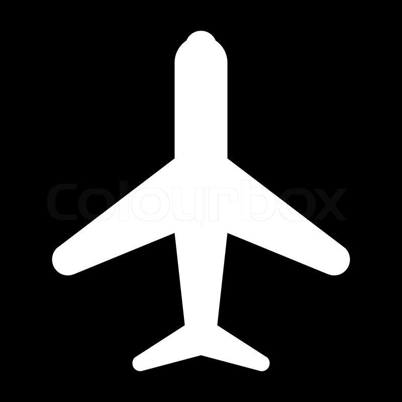 Icon Plane Black White Stock Vector Colourbox