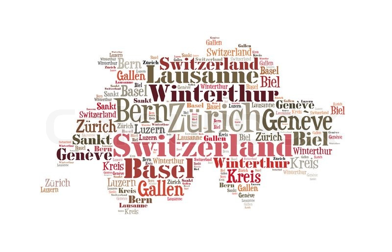 Switzerland Map And Words Cloud With Larger Cities Isolated On - Cities map switzerland