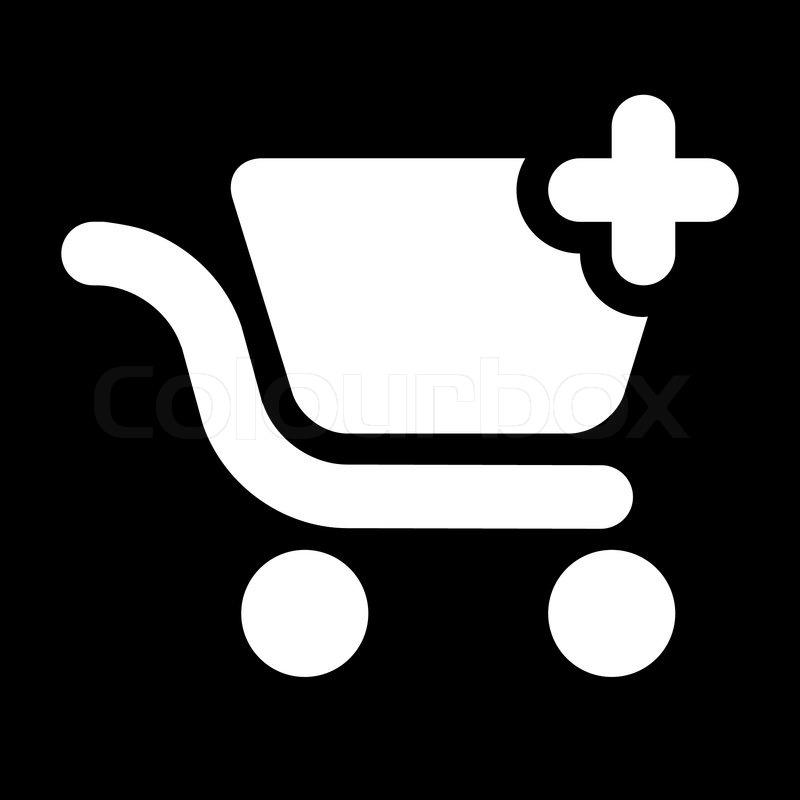 icon shopping cart add black white stock vector colourbox