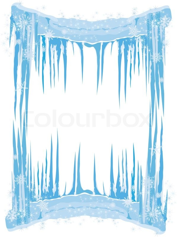 ice frame with icicles and snowflakeseps