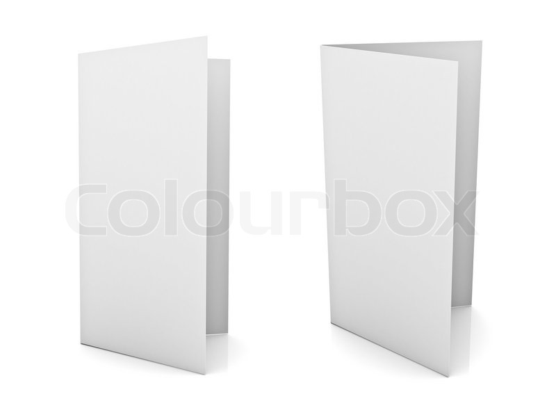 Blank Brochure Or Flyer Isolated Over White Background | Stock Photo |  Colourbox