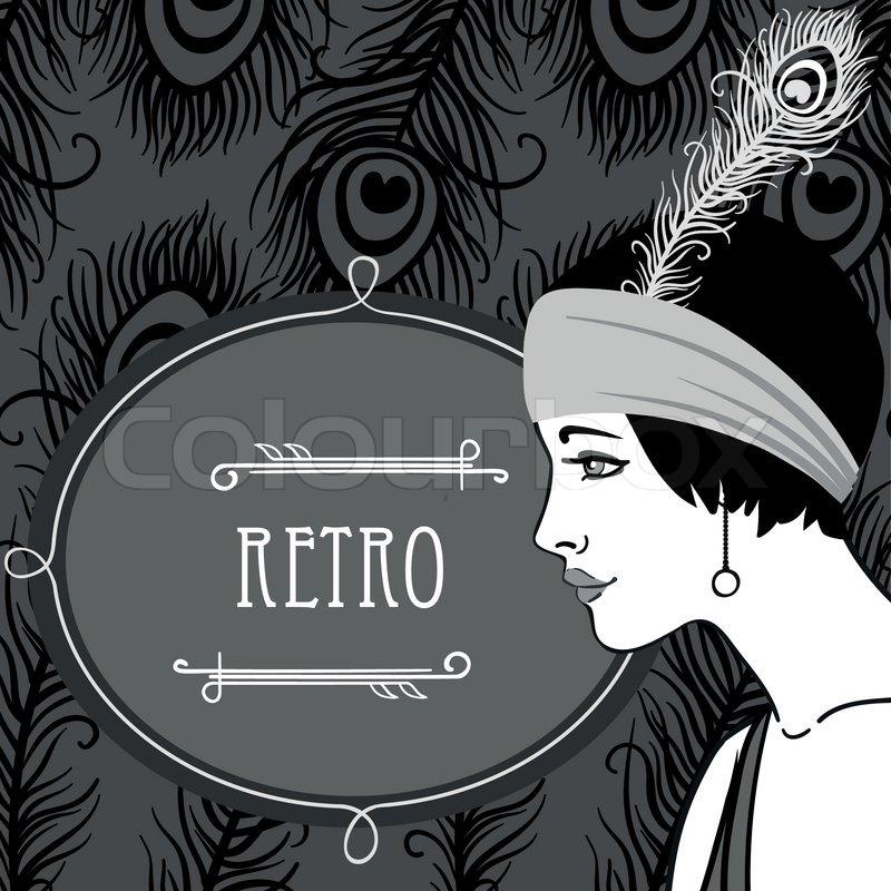 flapper girls set retro party invitation design in 20s