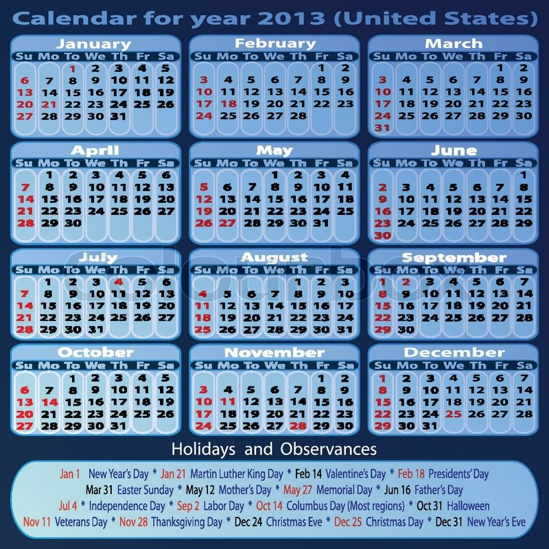 calendar for year 2013 united states