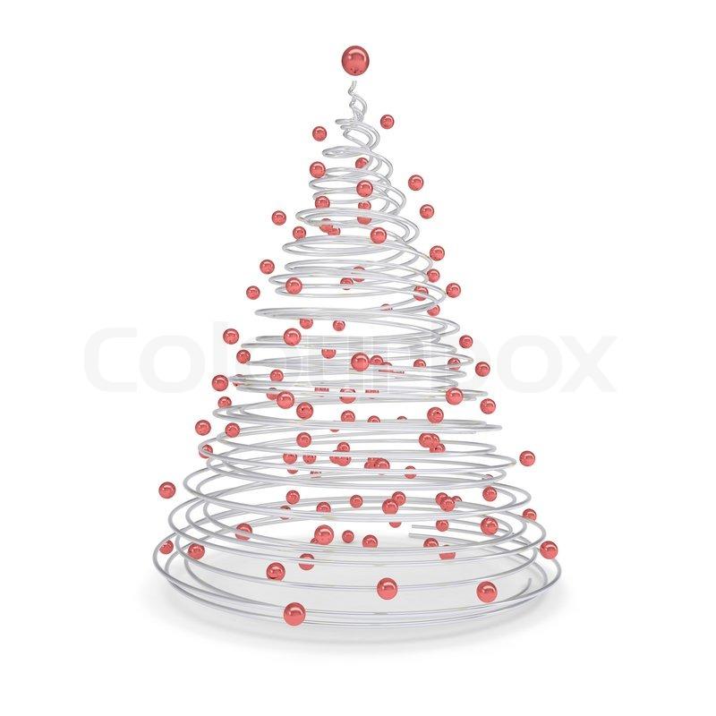 weihnachtsbaum aus aus metall spiralen und roten kugeln. Black Bedroom Furniture Sets. Home Design Ideas