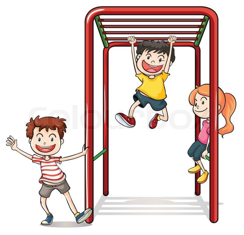 Kids spielen mit einem Klettergerüst | Vektorgrafik | Colourbox