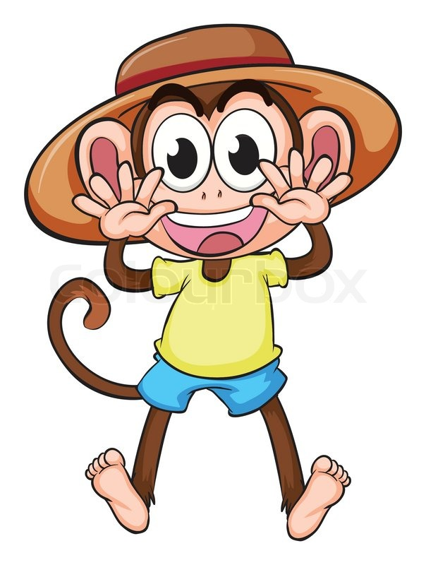 a monkey wearing a hat stock vector colourbox