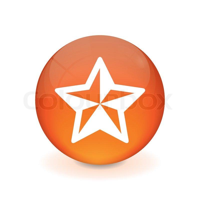 Runder orange knopf - weihnachtsstern icon | Vektorgrafik | Colourbox
