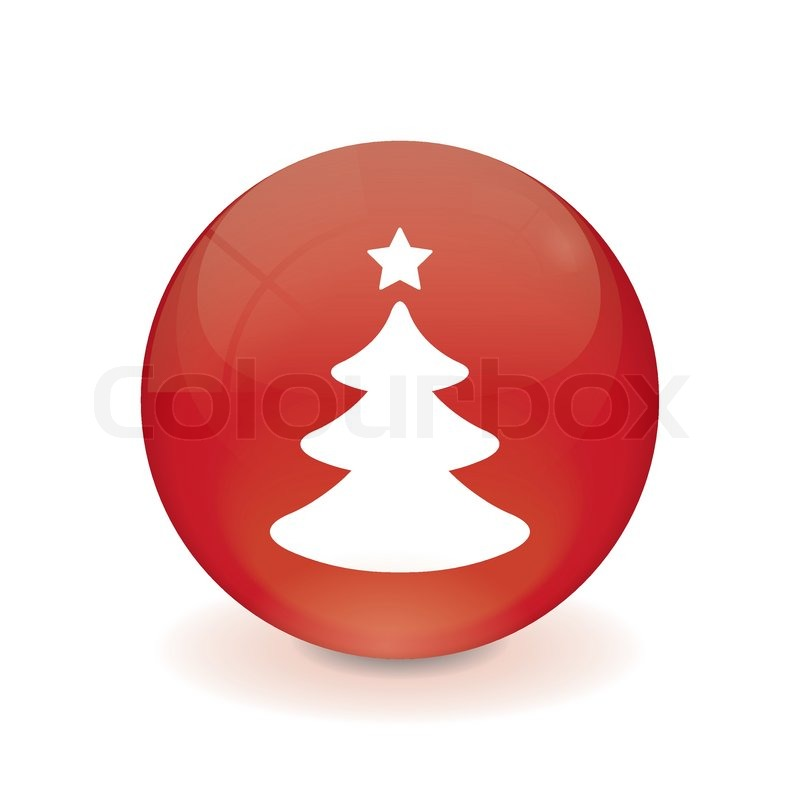 runder roter knopf weihnachtsbaum icon vektorgrafik. Black Bedroom Furniture Sets. Home Design Ideas