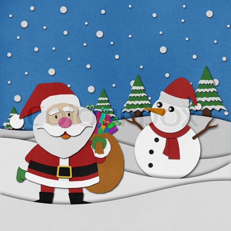 Snowman Recycled Paper Craft On Paper Background Stock Photo