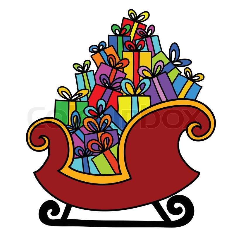 Christmas sleigh of santa claus | Vector | Colourbox
