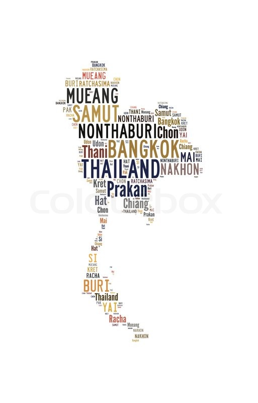 Thailand Map And Words Cloud With Larger Cities Isolated On White - Map of thailand cities