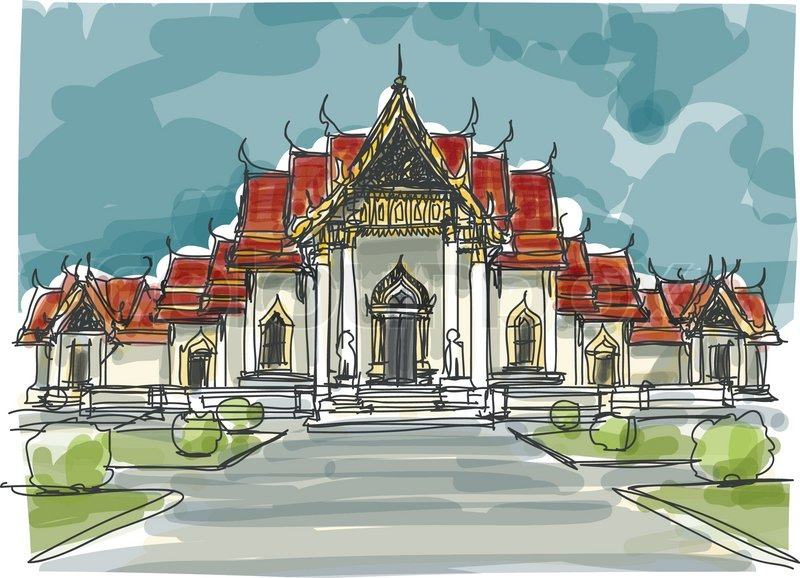 Sketchbook Thailand Temple Eps10 Vector Stock Vector