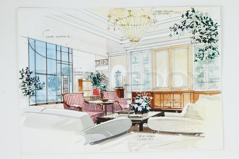 Sketch Of An Interior Living Room Stock Photo Colourbox