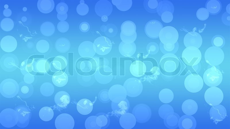 Blue background circles with white smoke, stock photo