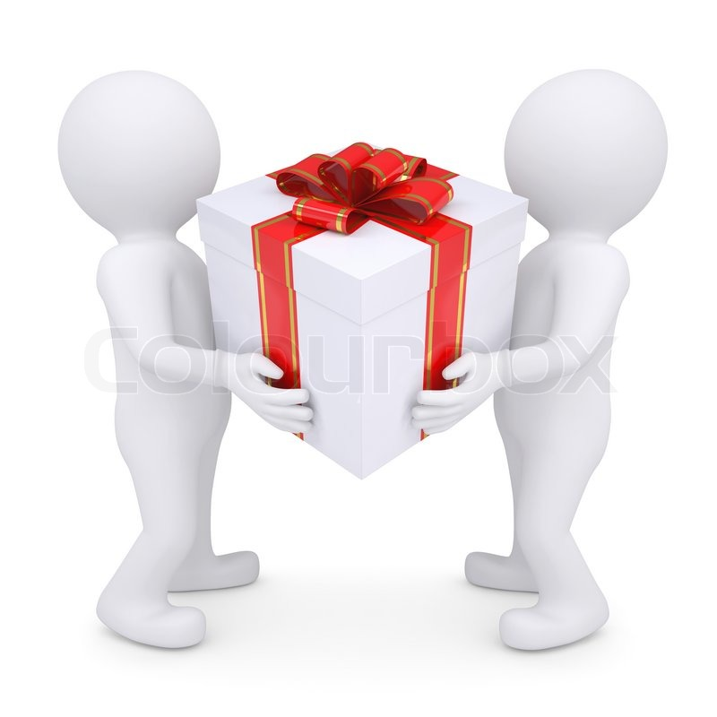 Two White Man Holding A Box With A Gift Stock Photo