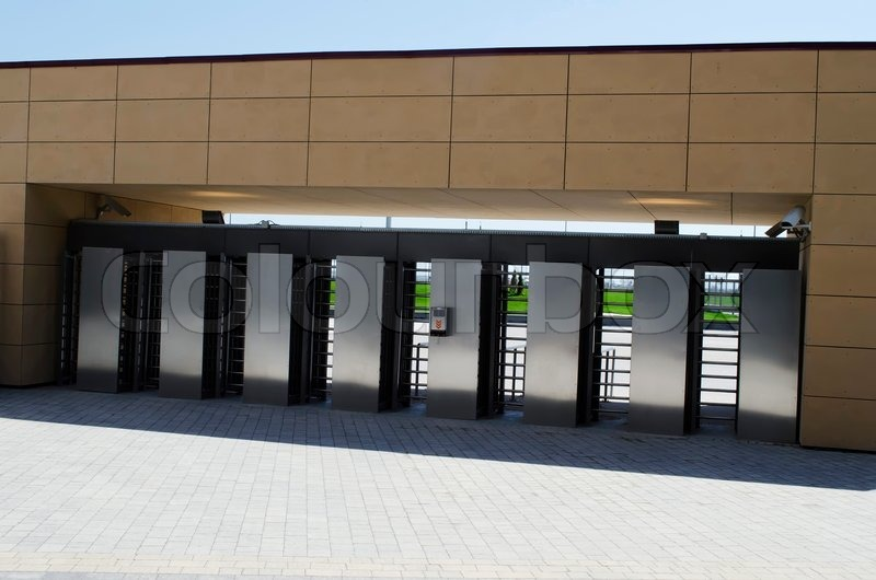 Entrance With Turnstile On Stadium Stock Photo