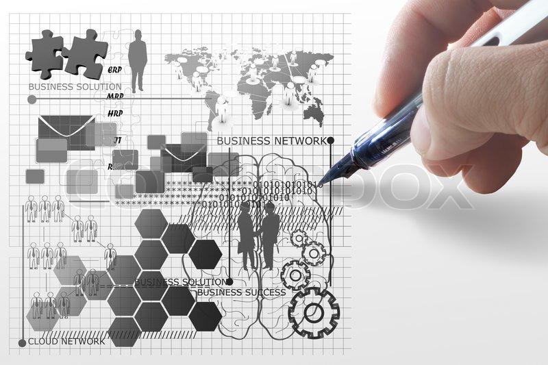 Hand zieht business netzwerk konzept stockfoto colourbox for Business netzwerk
