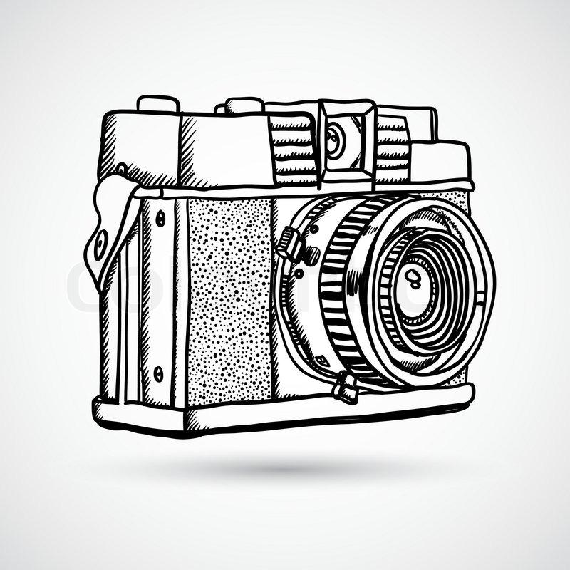 Vintage Doodle Camera Hand Drawn
