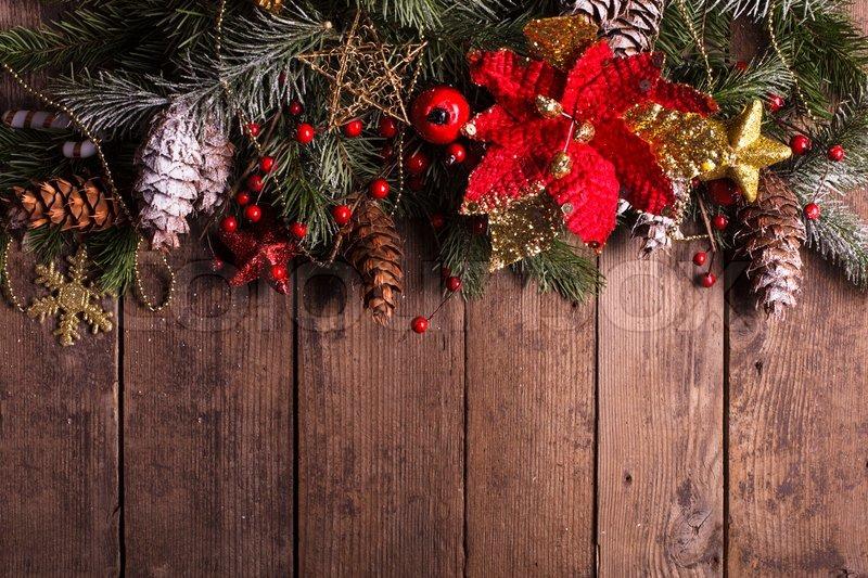 Christmas Border Design On The Wooden Stock Photo