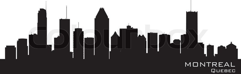 Montreal Canada Skyline Detailed Silhouette Stock