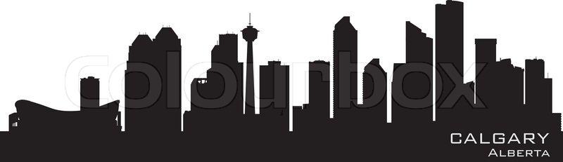 Calgary Canada Skyline Detailed Silhouette Stock Vector