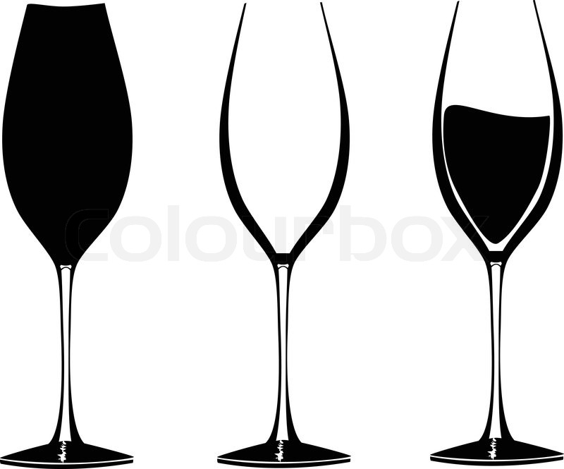 Wine glasses in graphic vector for use in party or restaurant artwork stock vector colourbox