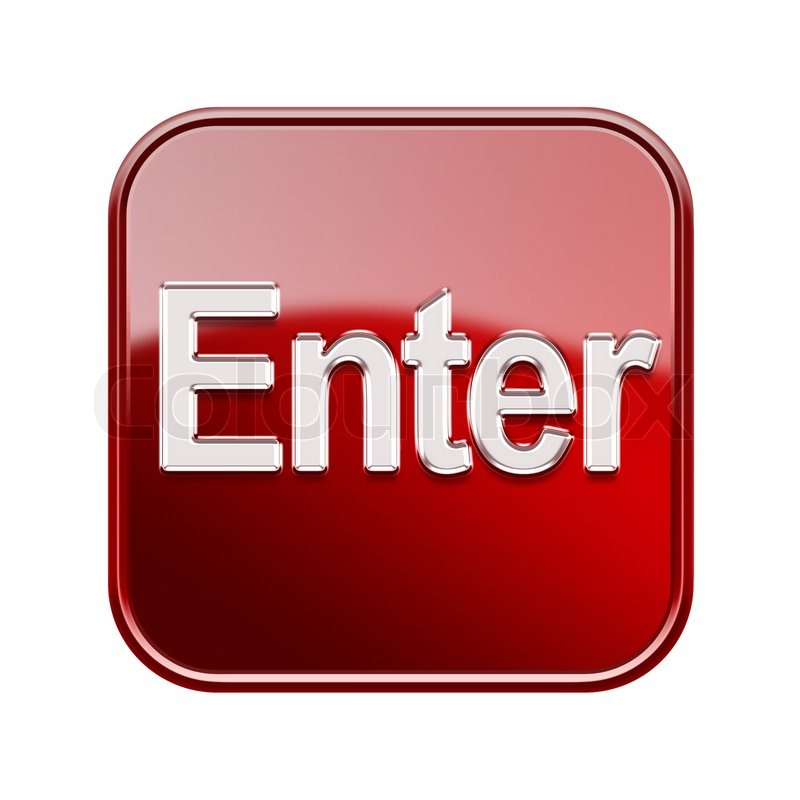 Enter icon glossy red, isolated on ...   Stock image   Colourbox