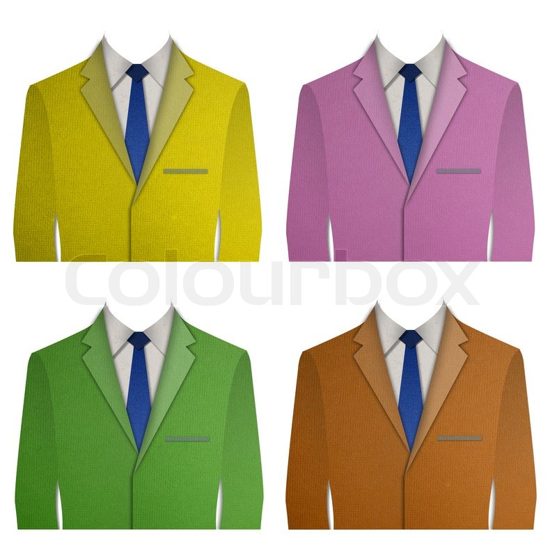 Paper cut colorful business suit with a tie on white background paper cut colorful business suit with a tie on white background stock photo colourbox ccuart Choice Image