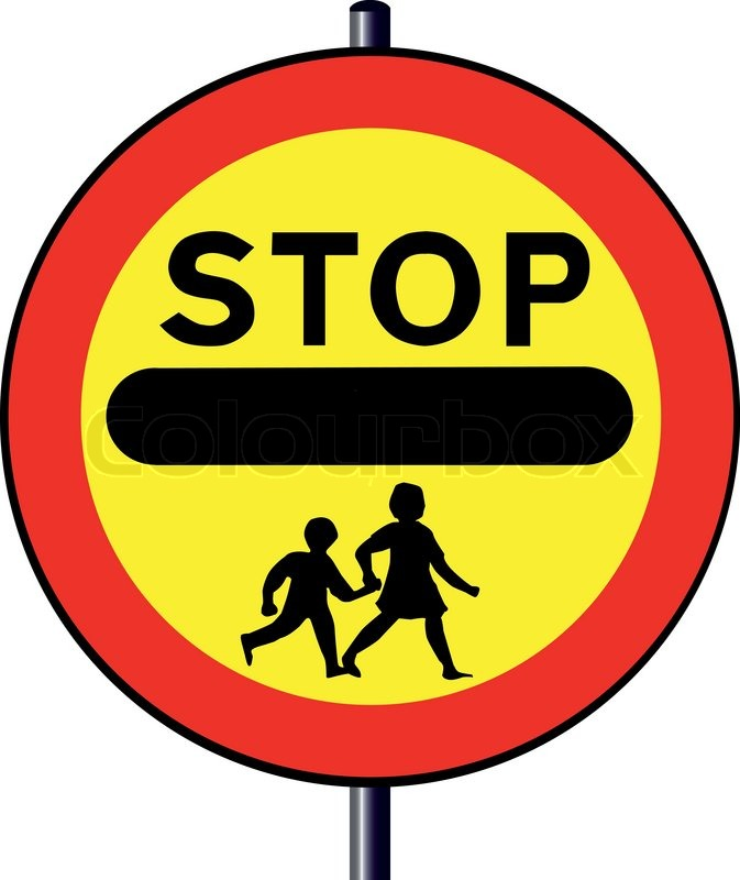 A Stop Children Crossing Sign Stock Vector Colourbox