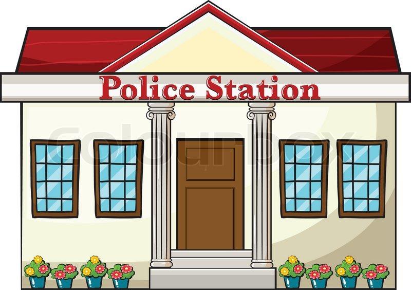 a police station stock vector Gas Station Clip Art Cartoon Train Station