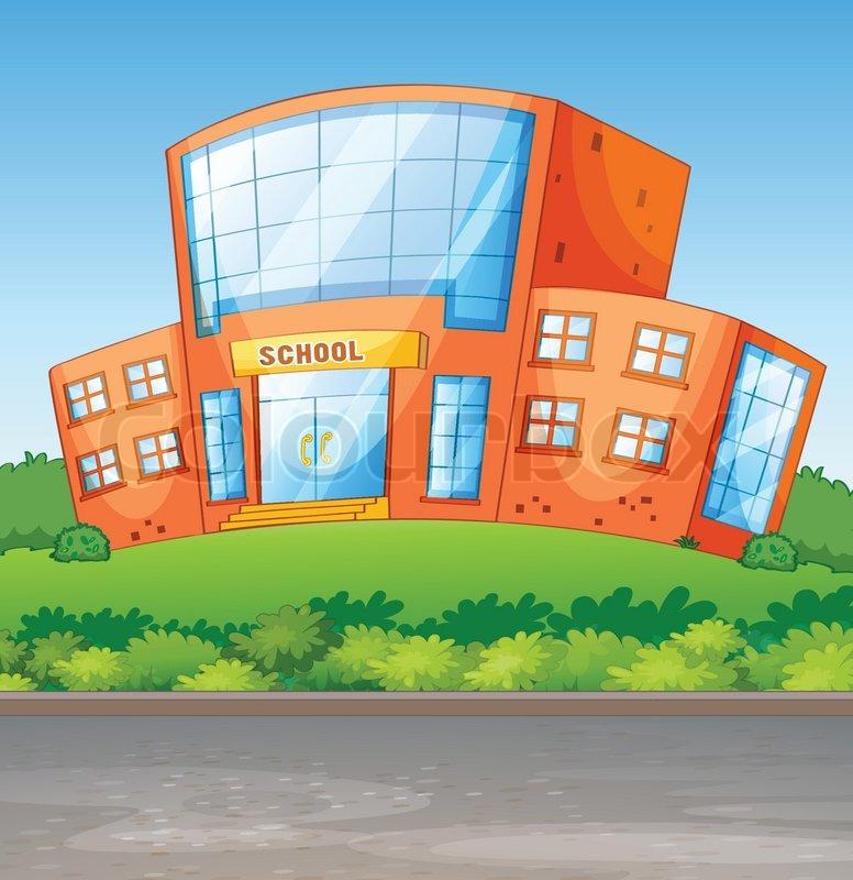 A School Building Stock Vector Colourbox