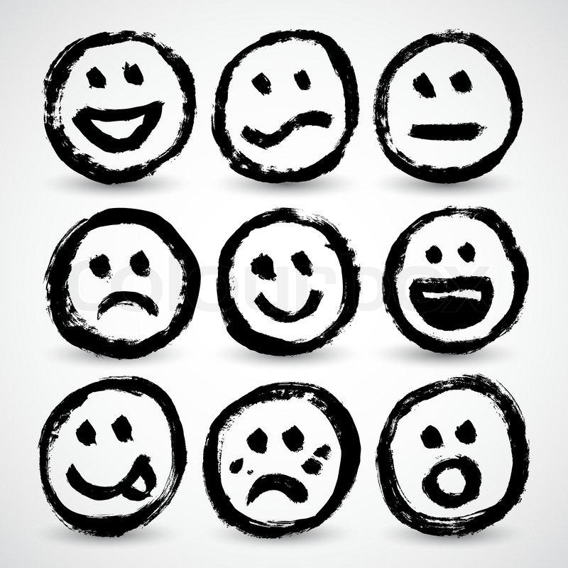 an icon set of grunge cartoon smiley faces  stock vector