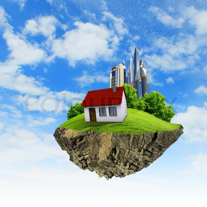 a piece of land in the air with house and tree