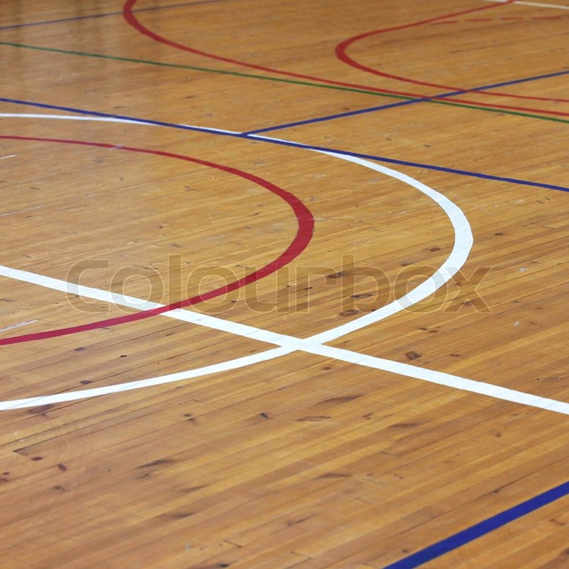 Basketball Hardwood Floor Texture In Wooden Floor Of Sports Hall With Marking Lines Stock Photo Colourbox