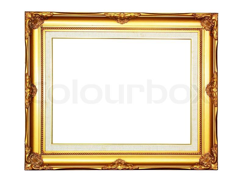 vintage gold holz bilderrahmen auf wei em hintergrund stockfoto colourbox. Black Bedroom Furniture Sets. Home Design Ideas