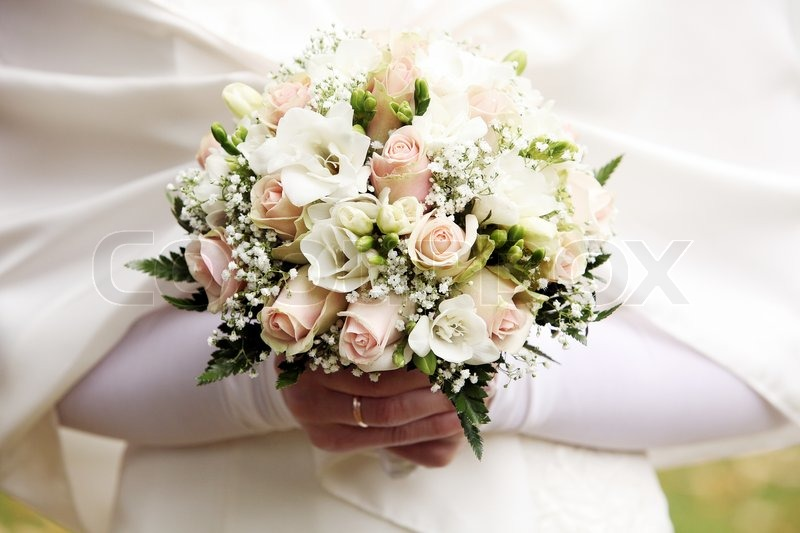 Close Up Of Beautiful Bride Flowers Bouquet Stock Photo