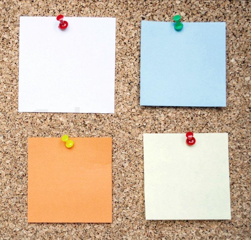 memo notes on cork board