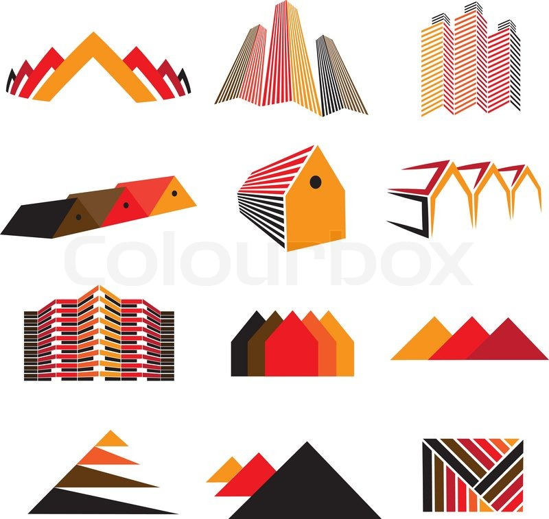 Icons Of Office Buildings Residential Houses Homes Also Symbols