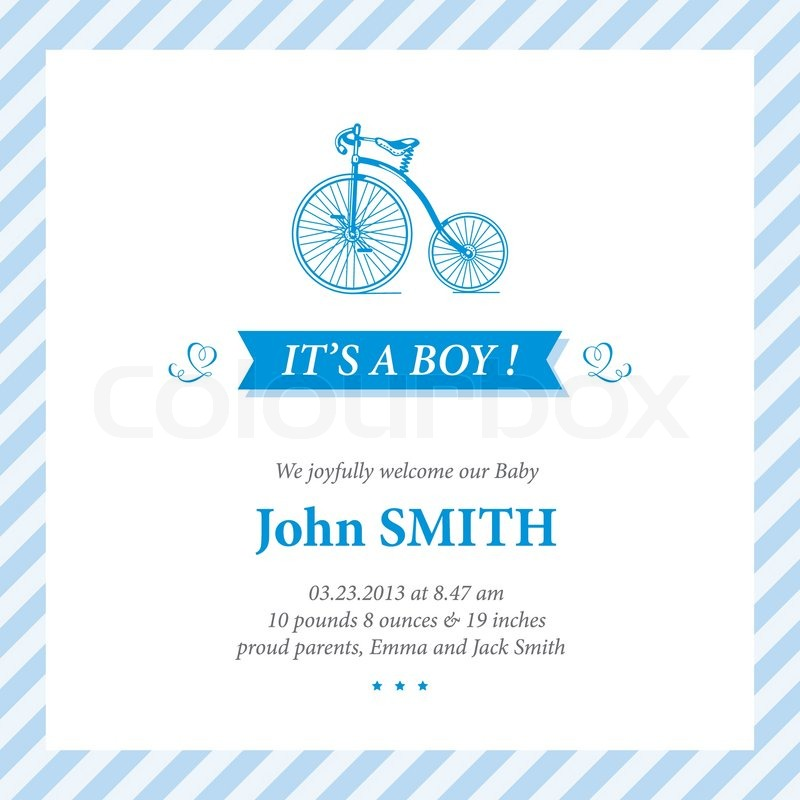 baby announcement card editable vector with bicycle