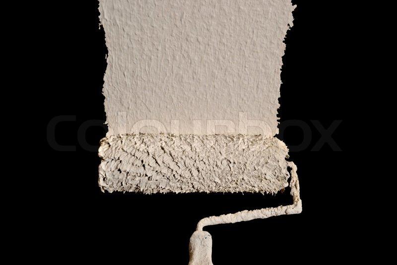 Farbrolle Mit Weißer Farbe Und Schwarzem Stockfoto Colourbox