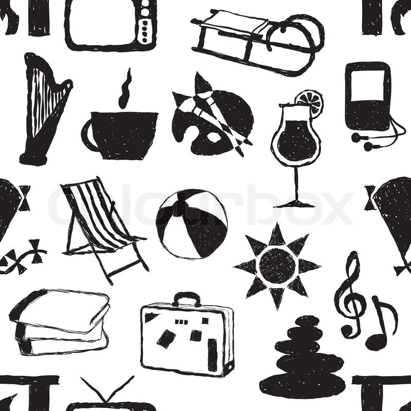 Doodle seamless relax pattern, vector