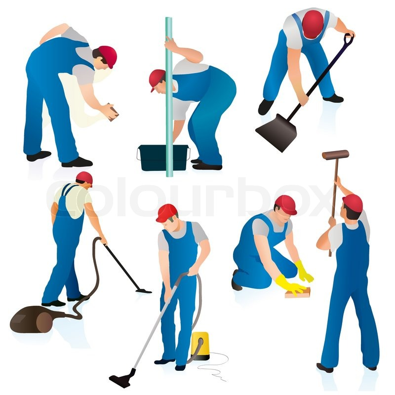 Set Of Seven Cleaners In Blue Uniform Stock Vector