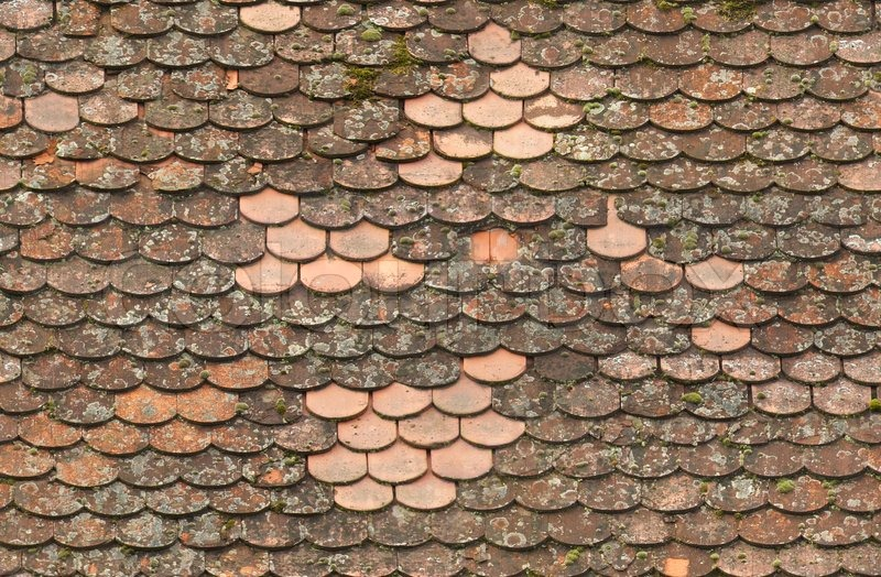 Seamless Red Old Roof Tiles Repairedtexture Stock Photo