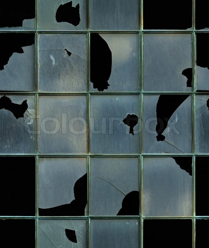 seamless window with broken glass texture stock photo