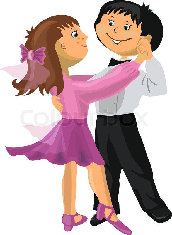 Cartoon Boy And Girl Dancing Stock Vector Colourbox
