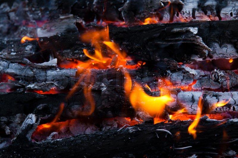 Burning Wood And Coal In Fireplacecloseup Of Hot Burning