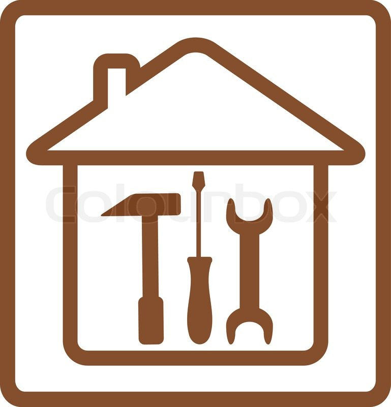 Repair symbol with tools and house silhouette with hammer for House remodeling tools