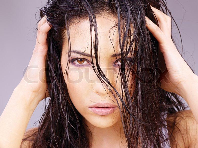 vådt hår