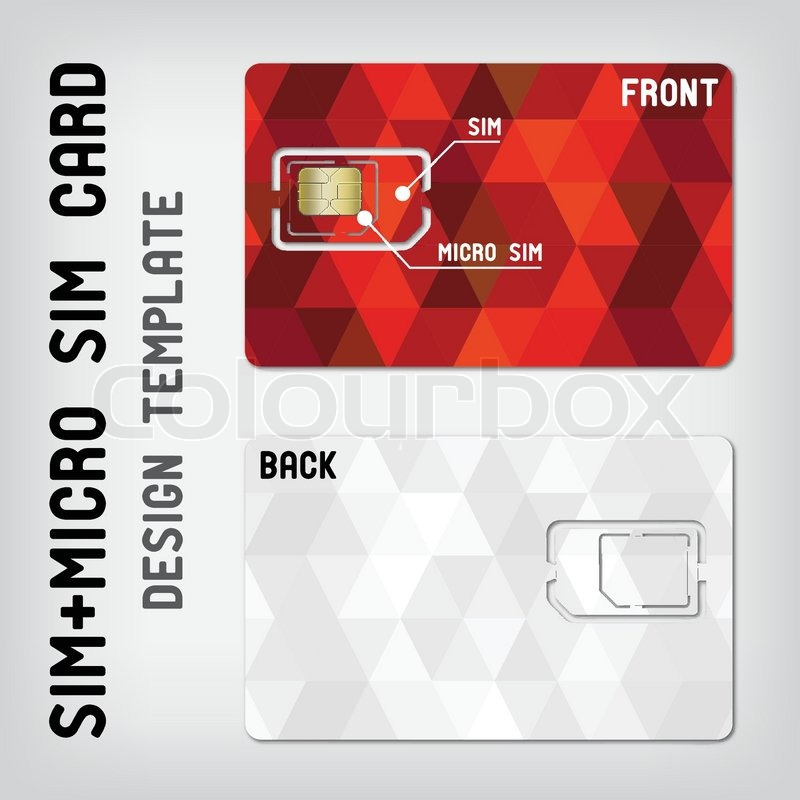 Sim+Micro Sim Card Template | Stock Vector | Colourbox